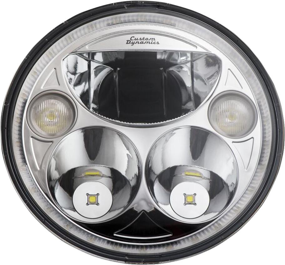"Custom Dynamics Chrome Trubeam 7"" LED Headlight 2015-21 Indian Springfield Chief"