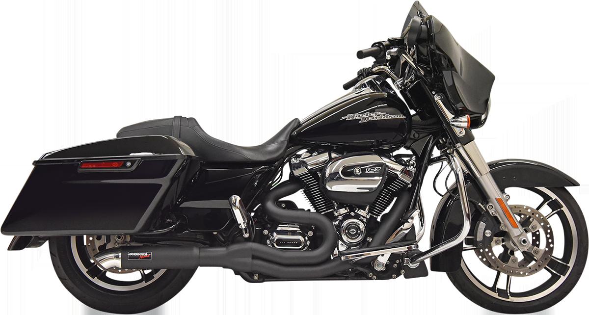 Bassani Black Road Rage II 2-1 Hot Rod Turnout Exhaust 17-21 Harley Touring FLHX