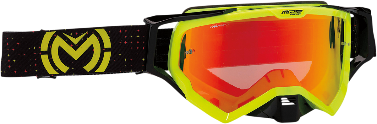 Moose XCR Pro Stars Hi-Viz Yellow Offroad Riding Dirt Bike ATV MX Racing Goggles