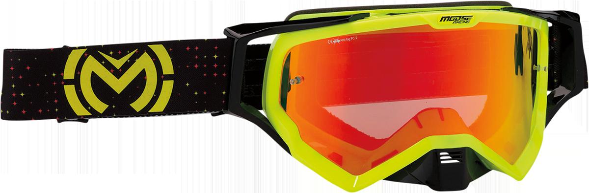 Moose XCR Pro Stars Hi-Viz Yellow Offroad Riding Dirt Bike ATV MX Racing Goggles