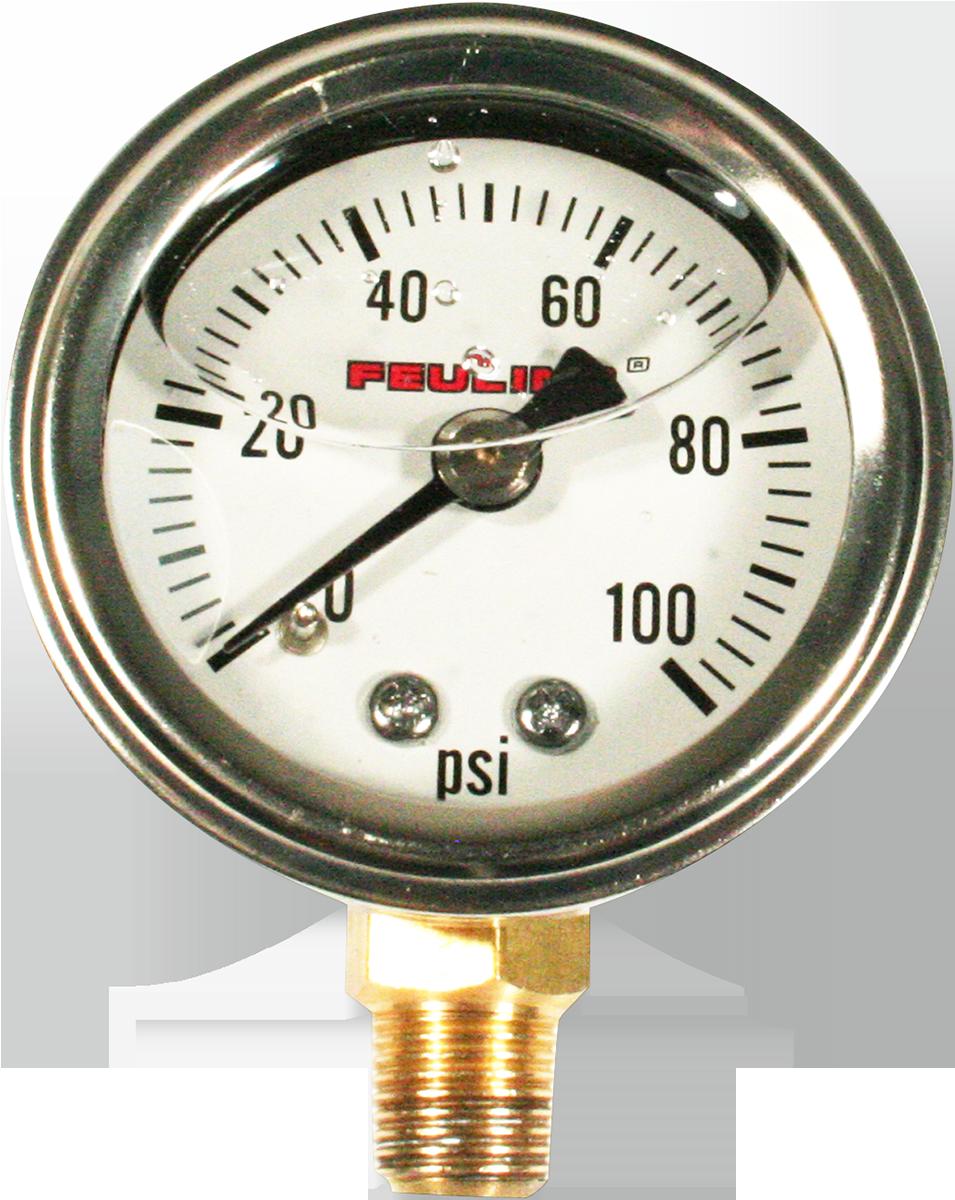 Feuling Stainless Universal Motorcycle 100PSI Oil Pressure Gauge for Harley