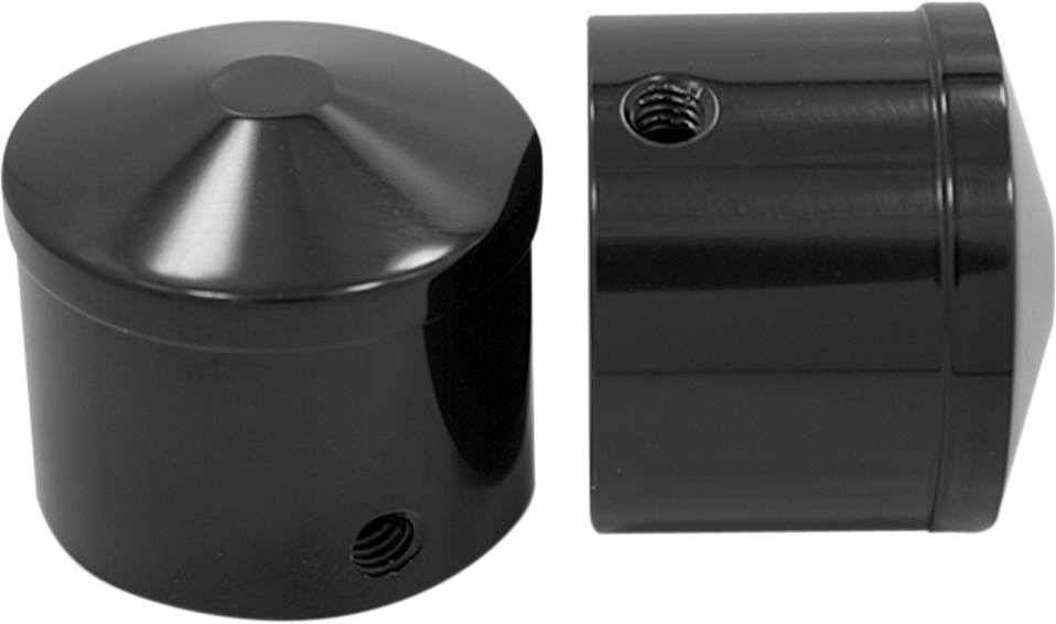 """Avon Black 1"""" Front Axle Nut Covers 2007-2020 Harley Dyna Touring Softail FLHX"""