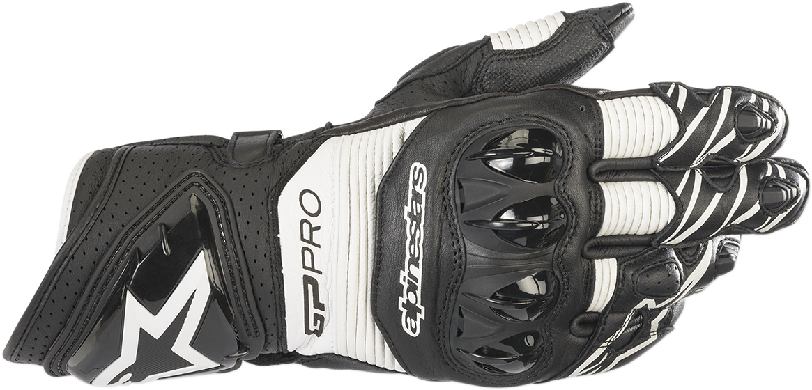 Alpinestars GP Pro R3 Mens Black White Motorcycle Riding Street Racing Gloves