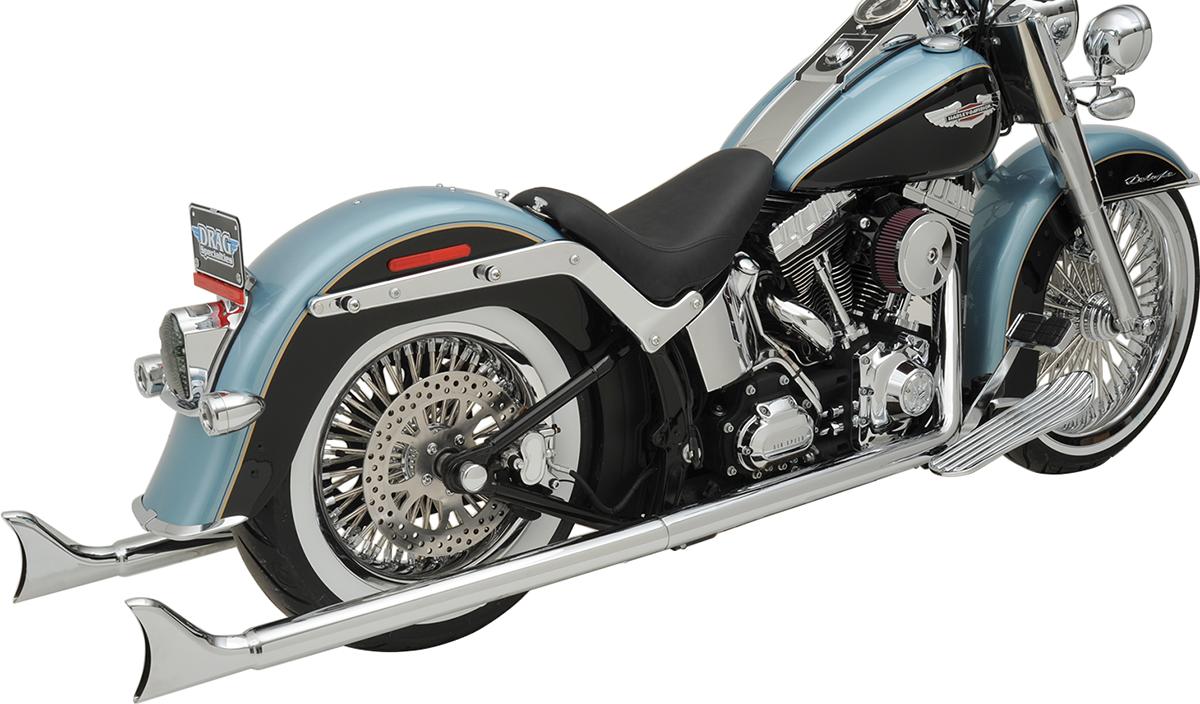 "Bassani Chrome 36"" Fishtail Exhaust Without Baffles 07-17 Harley Softail FLSTNI"