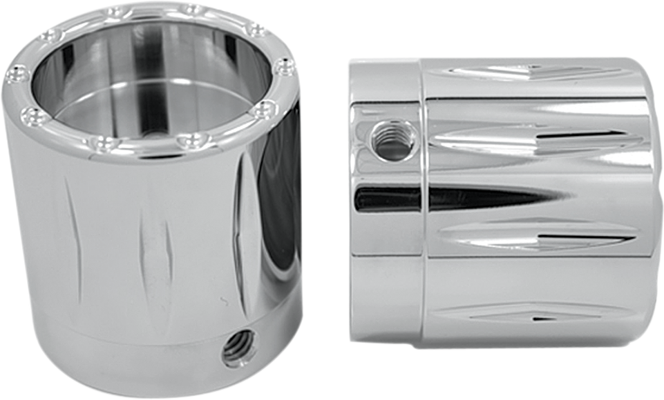 """Avon Rival Front 1"""" Chrome Axle Cap Nut Covers 2000-2007 Harley Touring FLHR"""