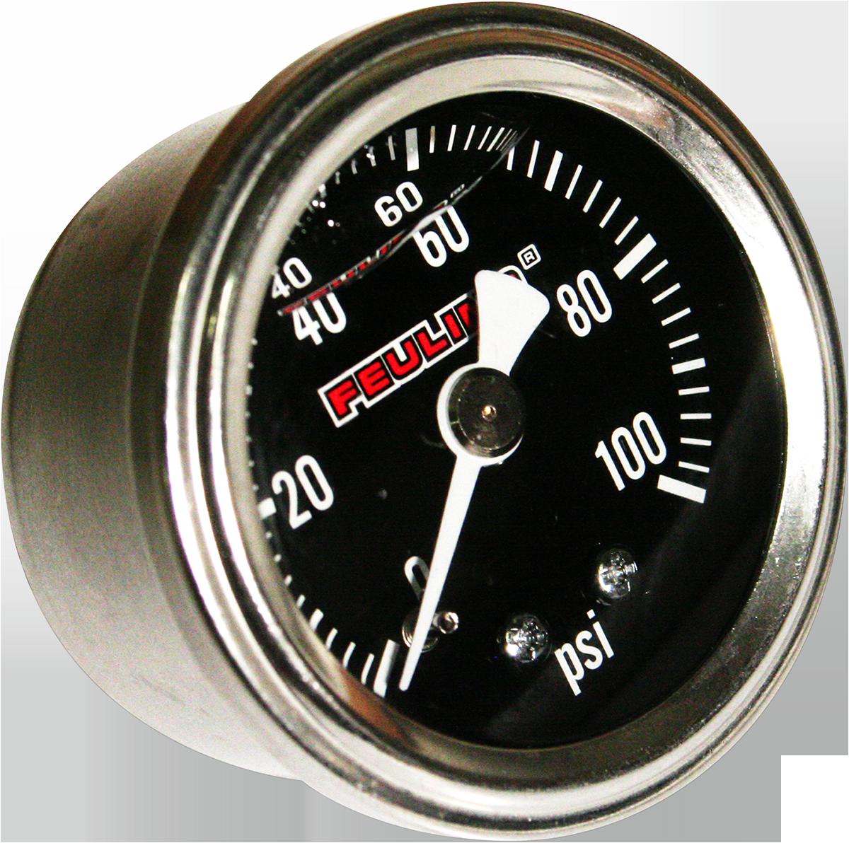Feuling Stainless Back Port Universal Motorcycle 100PSI Oil Pressure Gauge