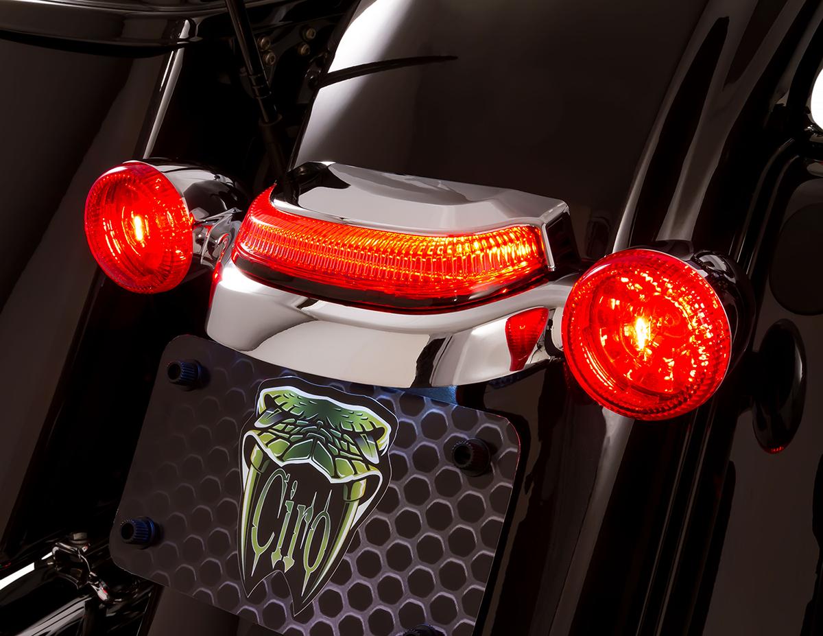 Ciro 40153 Lightstrike Chrome Crown Rear LED Taillight 14-20 Harley Touring FLHX