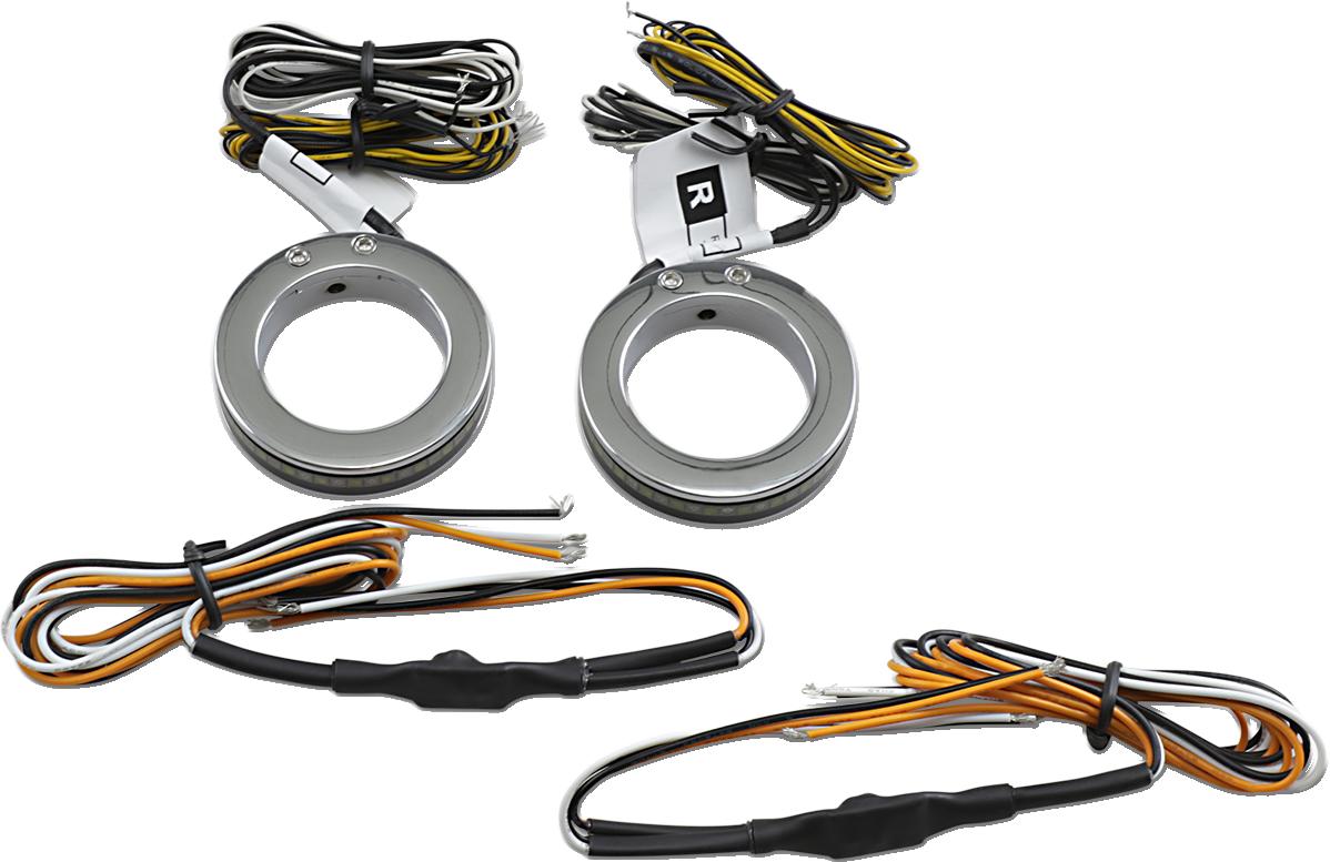 Custom Dynamics 37mm Wrap Arounds Fork LED Turn Signals 2016-2020 Harley Street