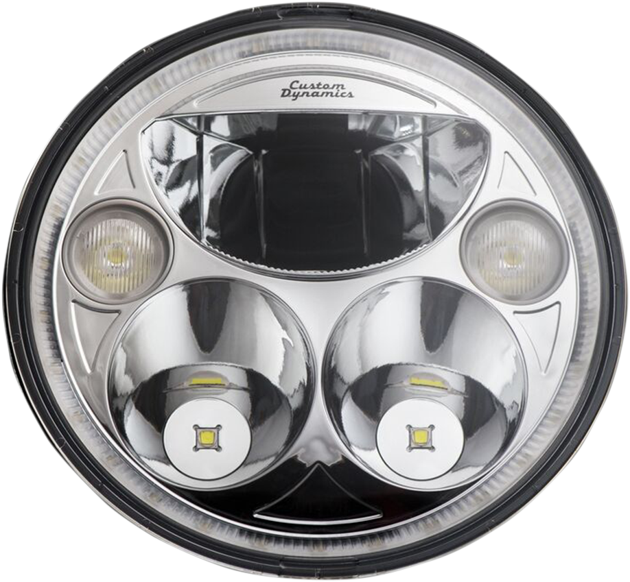 "Custom Dynamics Chrome Trubeam 7"" LED Headlight 2015-21 Indian Chieftain"