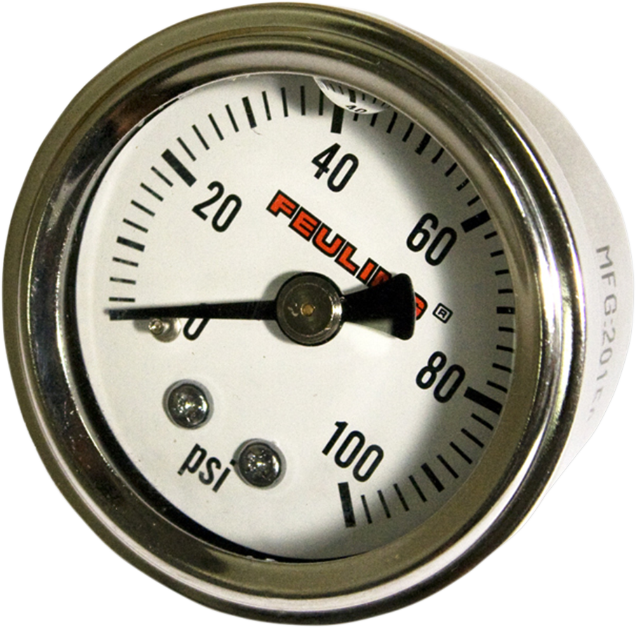 Feuling White Stainless Universal Motorcycle 100PSI Oil Pressure Gauge Harley
