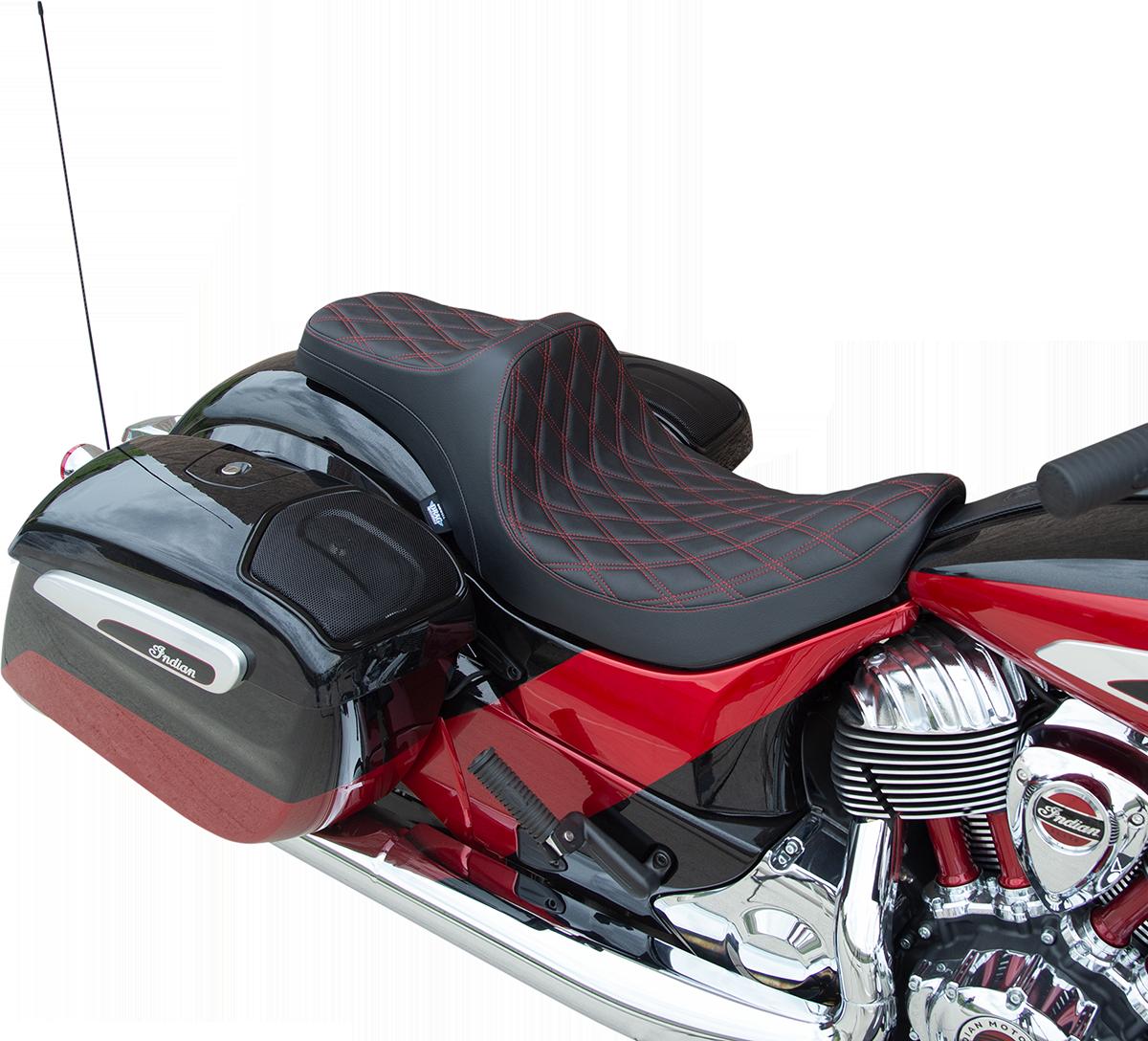 Drag Specialties Predator III Double Diamond Red Motorcycle Seat 14-21 Indian