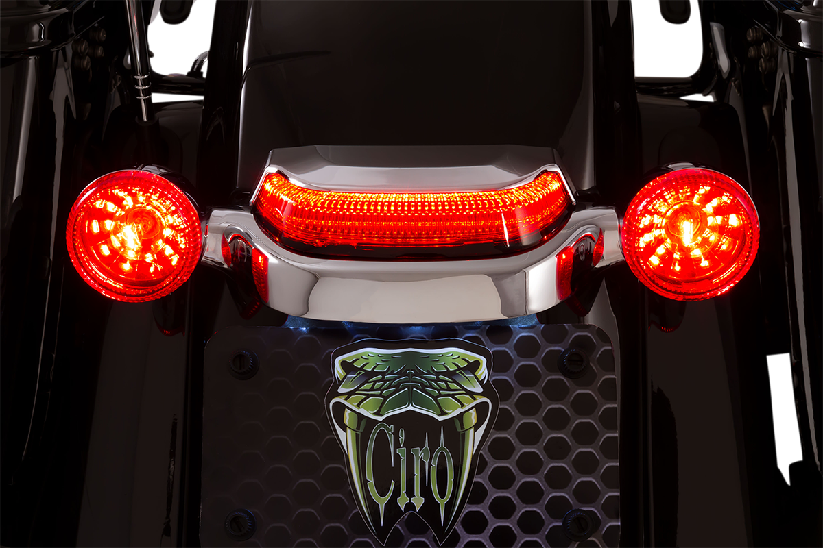Ciro 40173 Lightstrike Chrome Red Lens Crown LED Taillight 14-20 Harley Touring
