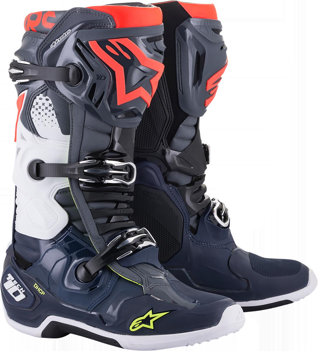 Alpinestars Tech 10 Blue Red Gray Mens Off road Riding Dirt Bike MX Racing Boots