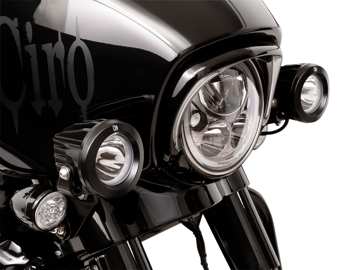 Ciro Tac-10 Cannons Motorcycle Spotlights 2014-2020 Harley Touring FLHX FLHXS