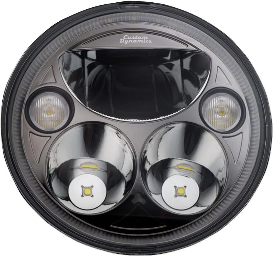 "Custom Dynamics Black Trubeam 7"" LED Headlight 15-21 Indian Roadmaster Chieftain"