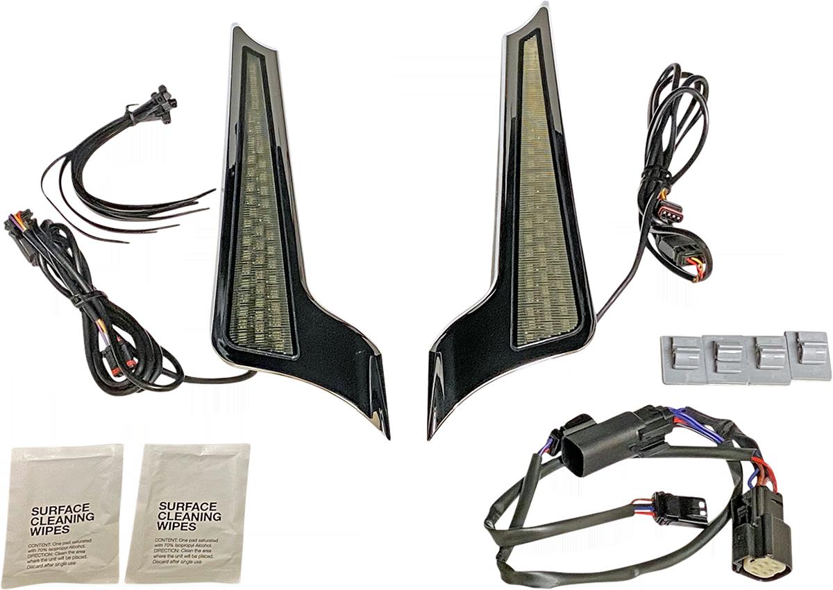 Custom Dynamics Chrome Dual Color Fascia LED Panel Lights 10-13 Harley Touring