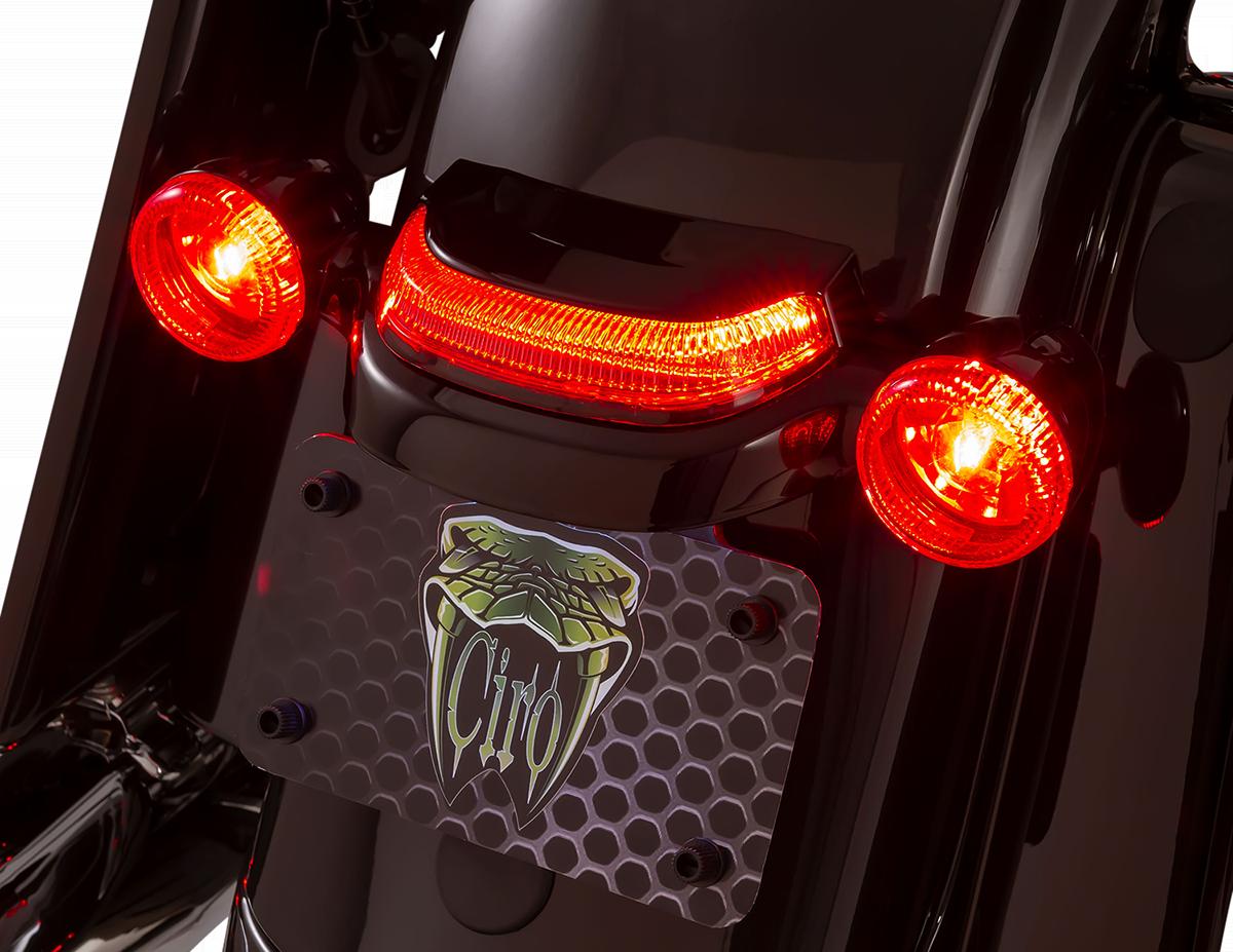 Ciro 40154 Lightstrike Black Crown Rear LED Taillight 14-20 Harley Touring FLHX
