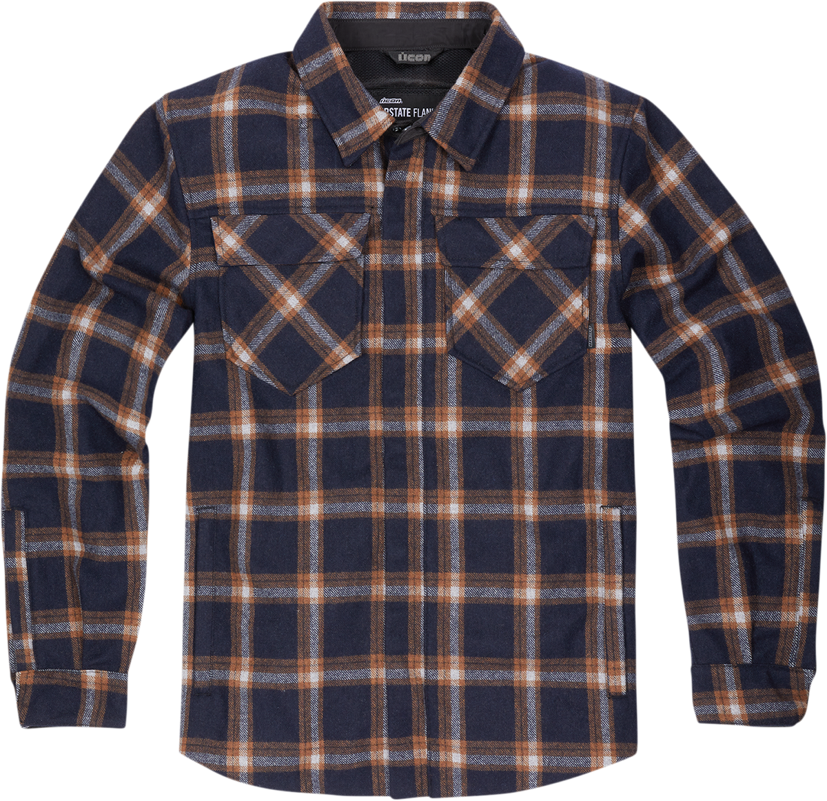 Icon Upstate Mens Orange Flannel Motorcycle Riding Casual Button Down Shirt