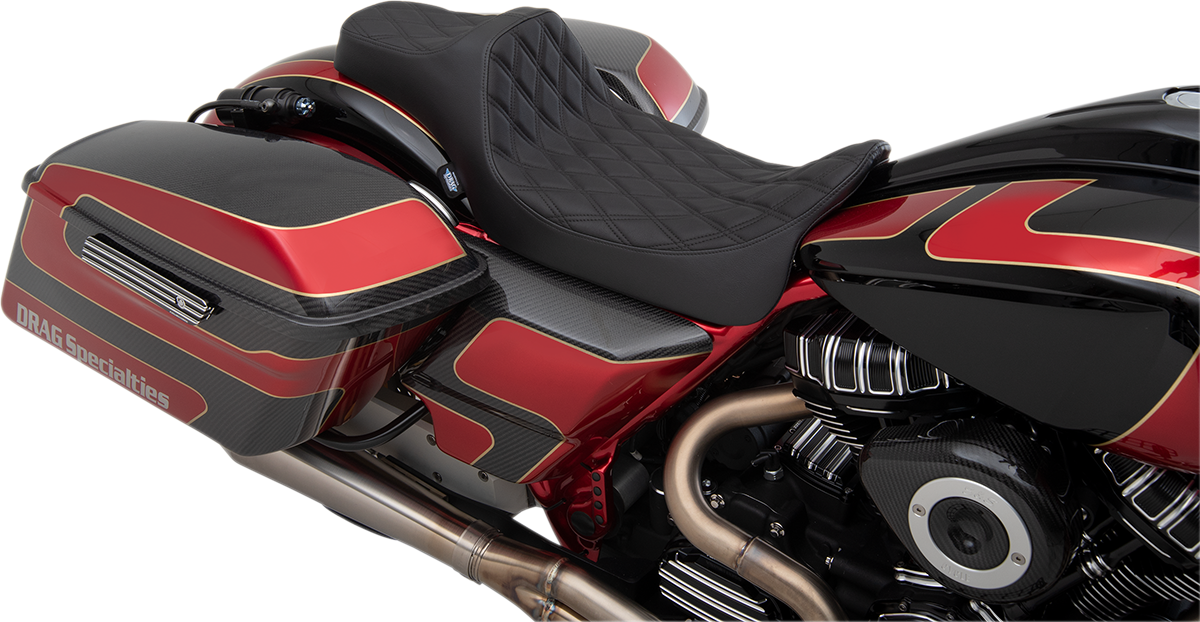 Drag Specialties Diamond Extended Reach Motorcycle Seat 08-20 Harley Touring