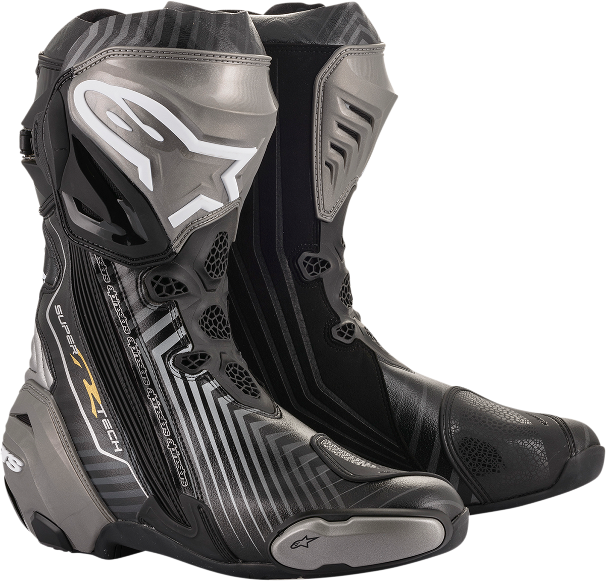 Alpinestars Supertech R Mens Black Gray Motorcycle Riding Street Racing Boots