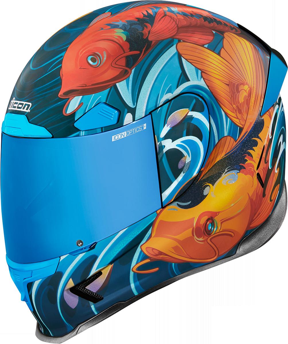 Icon Airframe Pro Koi Blue Fullface Motorcycle Riding Street Racing Helmet
