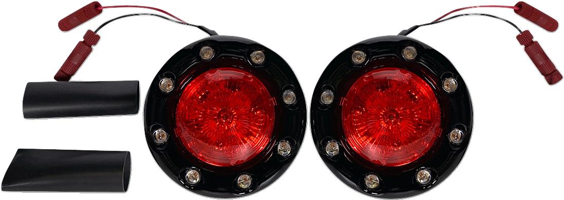 Custom Dynamics ProBEAM Black Red LED Bullet Ringz Turn Signals 2014-21 Indian