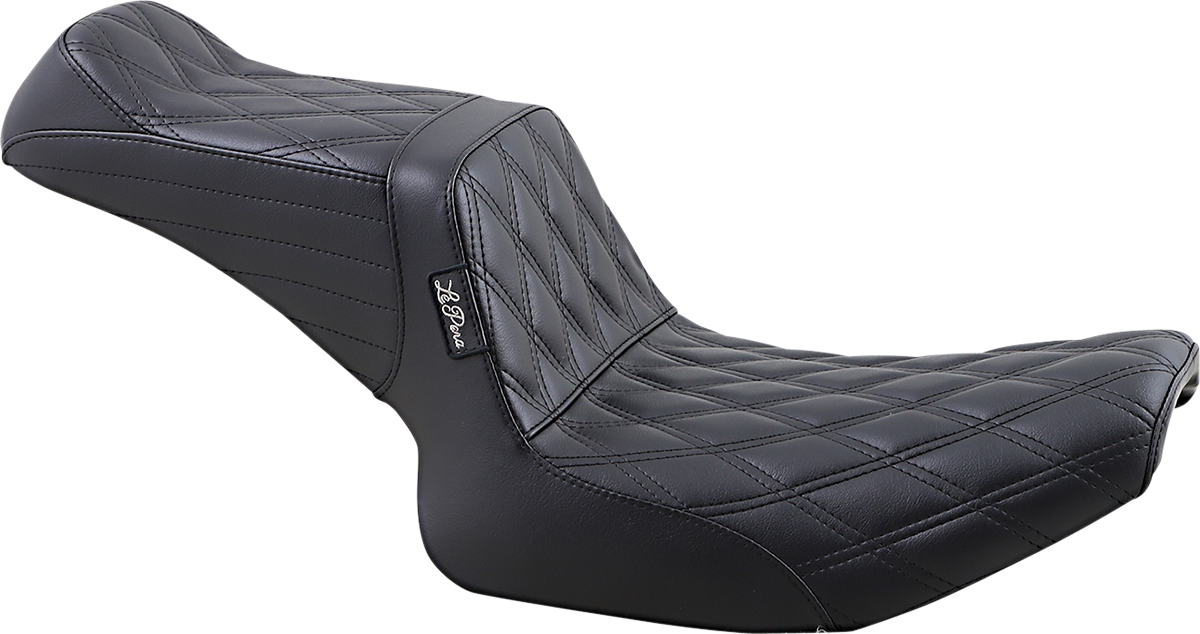 Le Pera Tailwhip Double Diamond Black 2-Up Motorcycle Seat 82-93 Harley Dyna FXR
