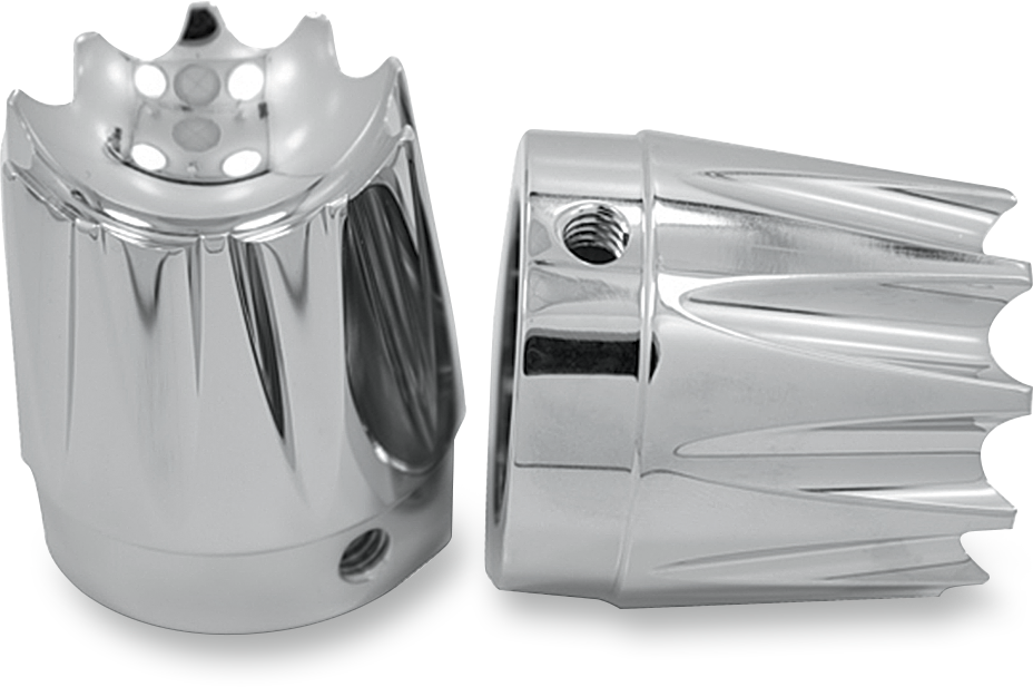 """Avon Excalibur Chrome Front 1"""" Axle Cap Nut Covers 2000-2007 Harley Touring FLHR"""