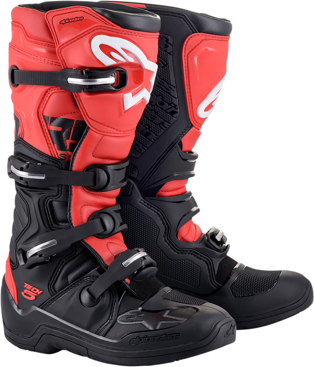 Alpinestars Tech 5 Mens Black Red Motorcycle Riding Dirt Bike Racing Boots MX
