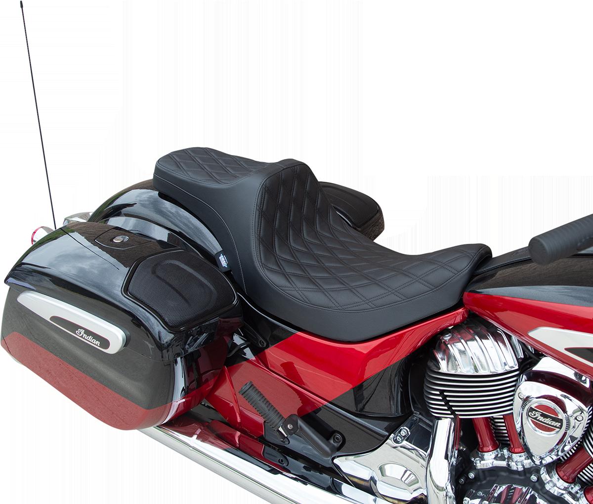 Drag Specialties Predator III Double Diamond Black Motorcycle Seat 14-21 Indian