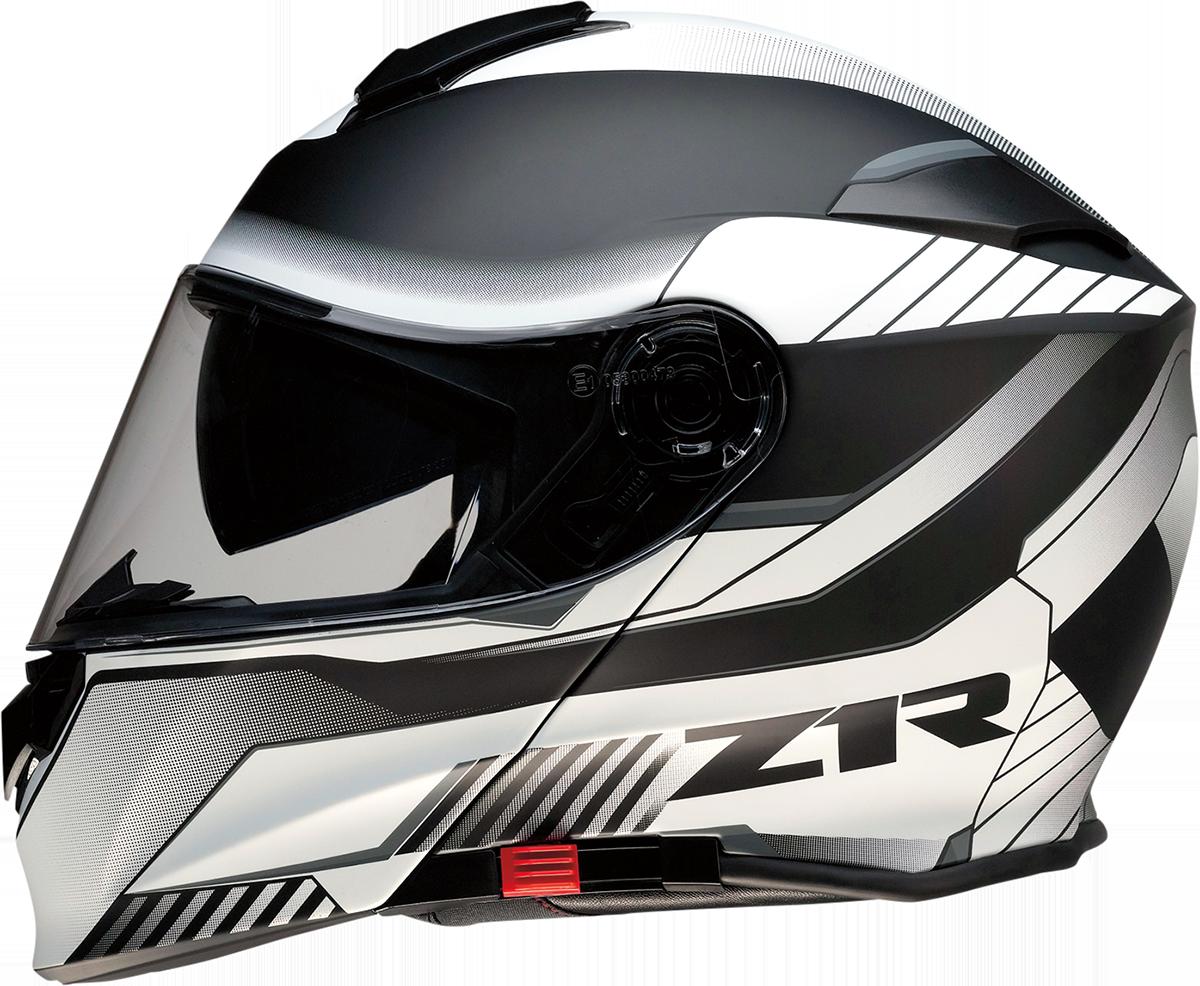 Z1R Scythe Black White Modular Fullface Motorcycle Riding Street Racing Helmet