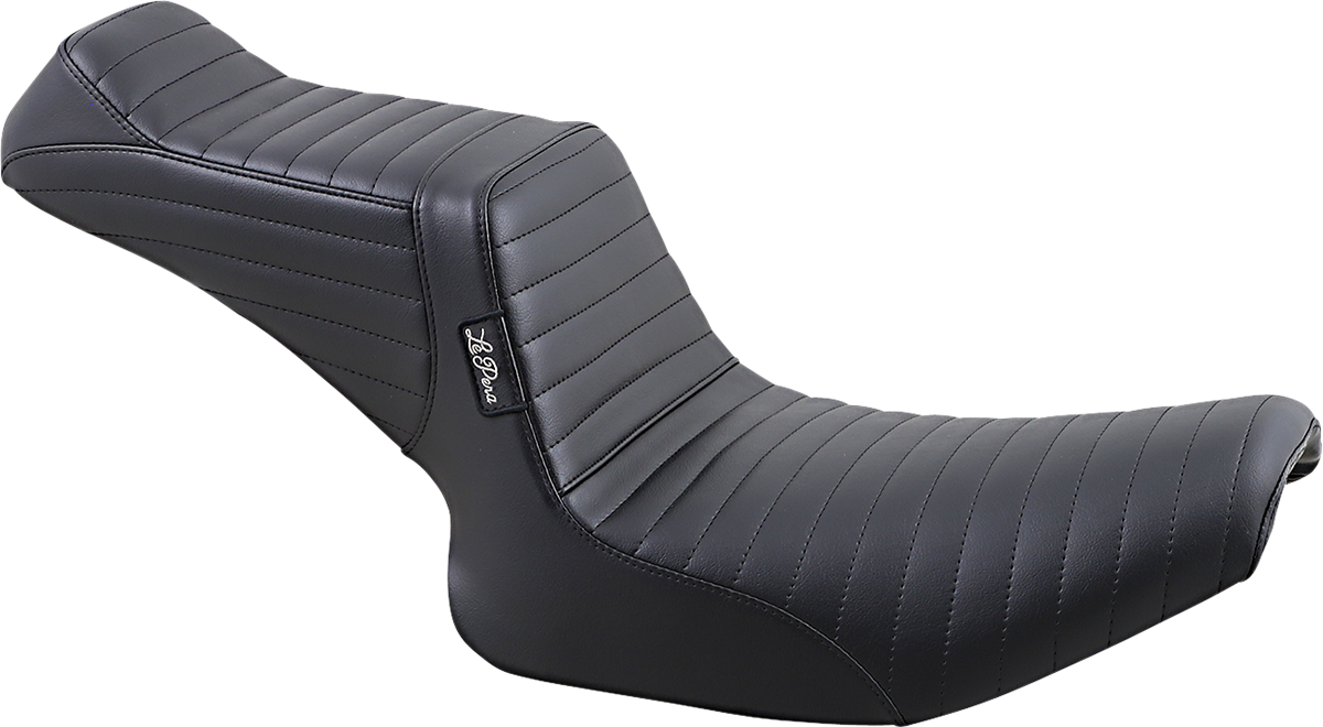 Le Pera Tailwhip Pleated Black 2-Up Motorcycle Seat 82-93 Harley Dyna FXRC FXRS