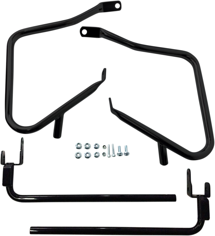 Drag Specialties Black Rear Saddlebag Guards & Support Kit 14-20 Harley Touring