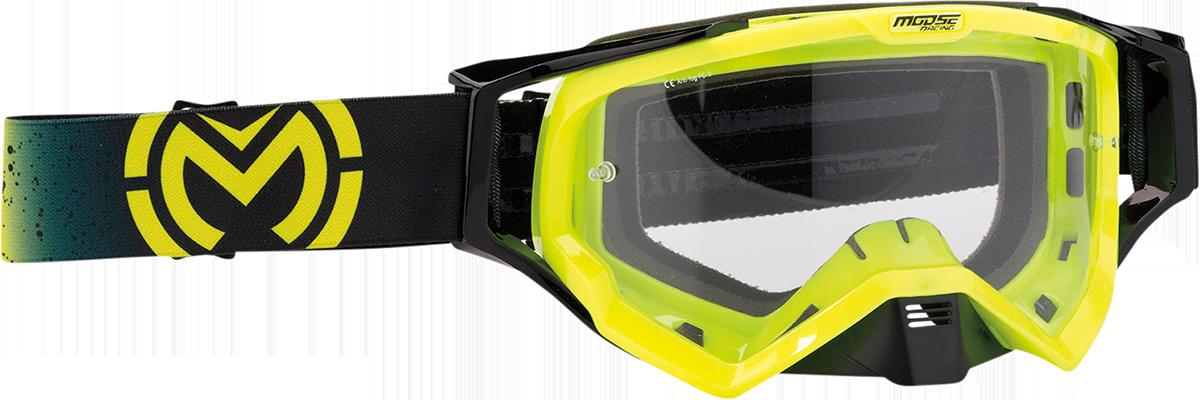 Moose XCR Galaxy Hi-Vis Black Motorcycle Riding Dirt Bike Racing Goggles MX