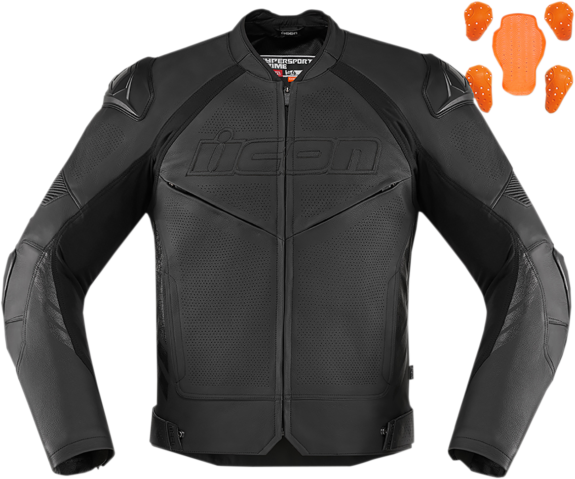 Icon Hypersport 2 Prime Mens Leather Motorcycle Riding Street Racing Jacket