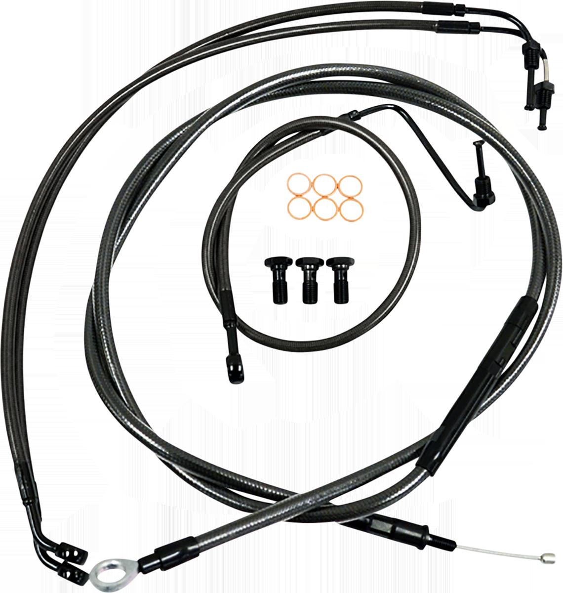 "La Choppers 10"" Black Ape Hanger Handlebar Cable Kit 2018-2021 Harley Softail"