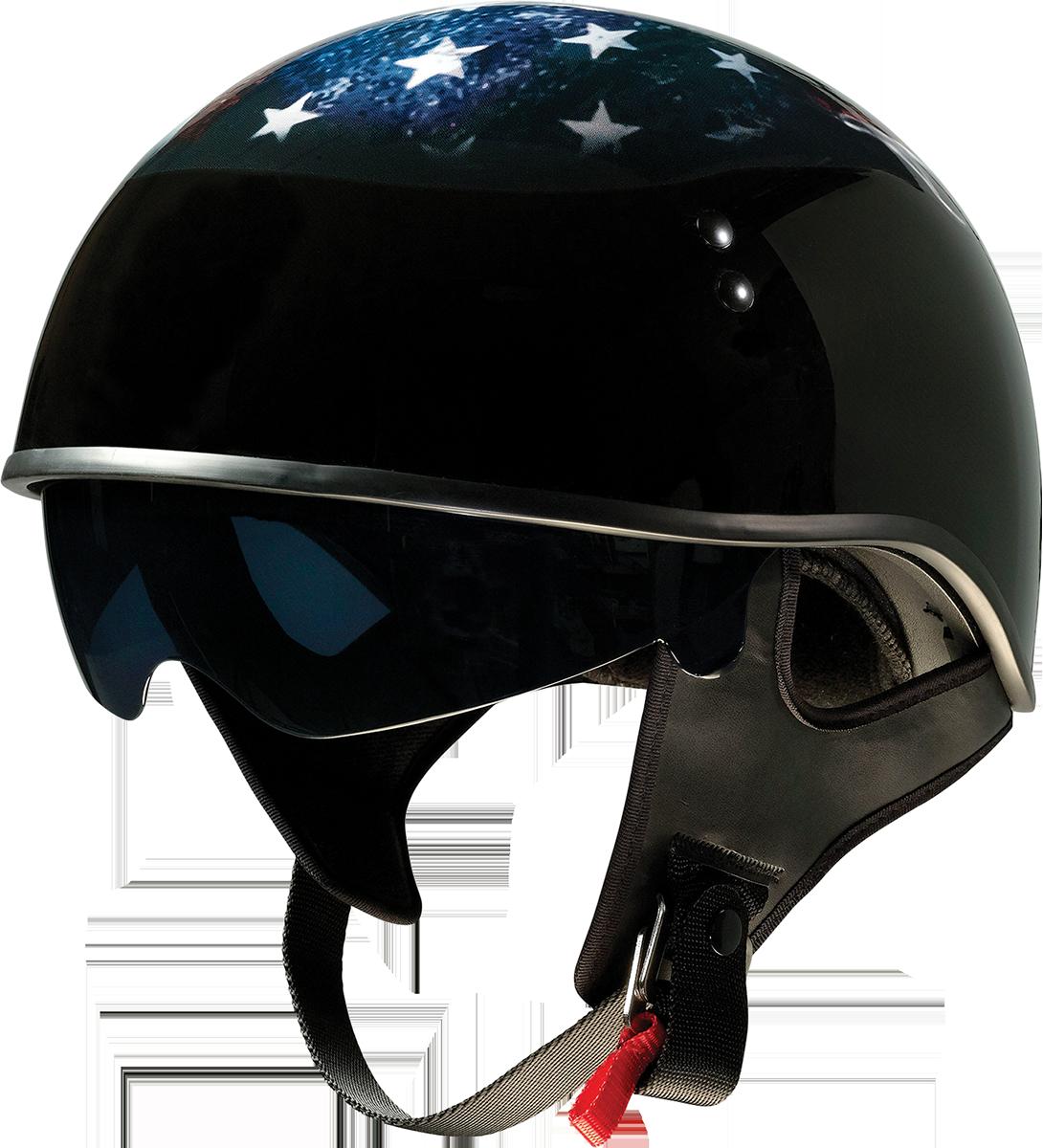 Z1R Vagrant USA Skull Unisex Adult Motorcycle Riding Street Half Helmet