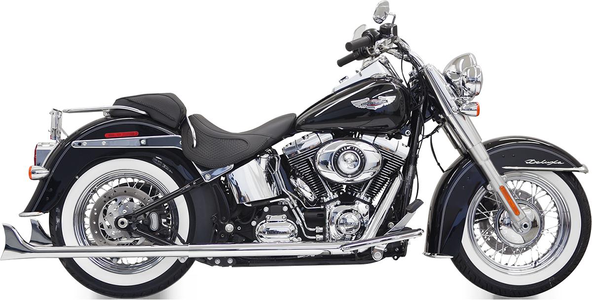 "Bassani Chrome True Dual 33"" Fishtail Exhaust 2007-2017 Harley Softail FLSTNI"